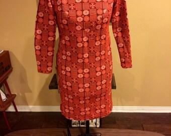 Plus Size Orange Polyester Dress 1970's