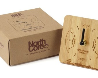Northcore desk top tides clock are made from natural bamboo with a laser etched design. Perfect for tracking tide times at your local beach.