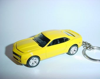 3D Chevrolet Camaro RS custom keychain by Brian Thornton keyring key chain finished in black color trim metal body bumble bee
