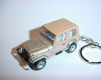 3D Jeep Wrangler custom keychain by Brian Thornton keyring key chain finished in gold racing trim 4x4 offroad rescue mission truck 1993