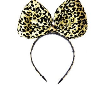 Cheetah Bow Headband, Big Bow Headband, Jumbo Cheetah Bow, Lion King Headband, Jumbo Bow Headband, Jungle Cruise Ears, Leopard Bow Headband