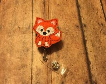 Fox Badge Reel-Id holder- Retractable Badge Holder- Id Clip- Nursing Name Badge