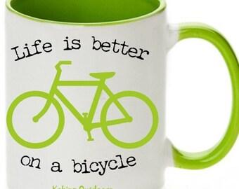 Unique Bicycle Coffee Mug, Lime Geen Bicycle Mug, Coffee Mugs, Bike Mugs, Bike Coffee Mugs, Gift for Cyclist, Bicycle Gift, Road Bicycle Mug