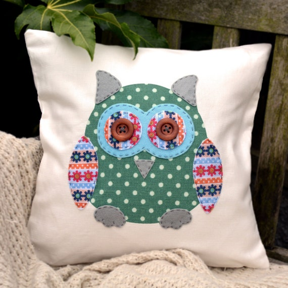 "Owl Cushion - Green Polka Dot, Blue, Daisies & Flowers,  ""The Owls of Hoot"" Collection, Tamsin Reed Designs"