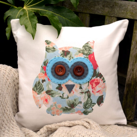 """Owl Cushion - Floral with blue & dark grey """"The Owls of Hoot"""" Collection, Tamsin Reed Designs"""