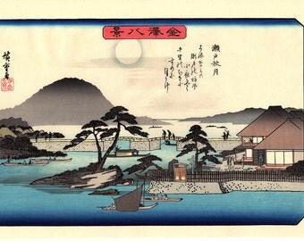 "Japanese Ukiyoe, Woodblock print, antique, Hiroshige, ""Autumn Moon at Seto"""
