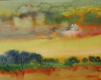 Full moon Landscape Painting. Scenic sunset watercolour, Clouds & moon painting. Water reflection landscape. OOAK art, Not a print, mat10x13