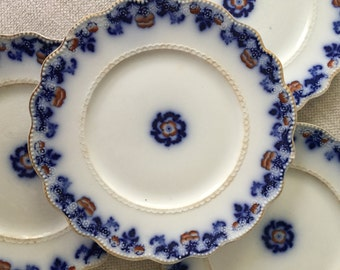 Set of 4 Antique Flow Blue Countess Dessert, Salad, Bread Plates by W. H. Grindley, Made in England