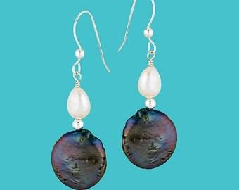 Coin Pearl Drop Earrings - Black