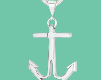 Sterling Silver Anchor Pendant on 3MM Snake Chain Necklace