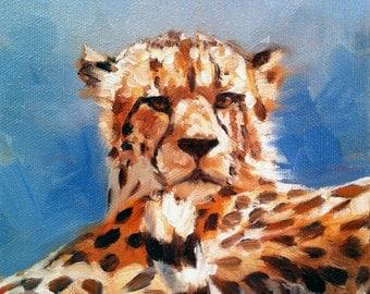 Cheetah, small gift idea, limited edition mini print by artist Kindrie Grove