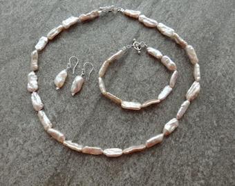 Biwa Pearl Collection, Biwa Pearls, Biwa Pearl Necklace, Pearl Bracelet, Pearl Earrings, Matching Pearls, Contemporary Pearls