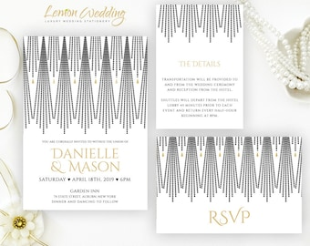 Art deco wedding invitations set | Gold and black wedding invitations printed on shimmer cardstock | Discount invitations