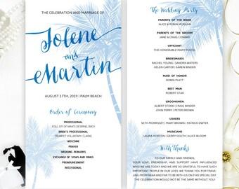 Palm Tree Wedding Programs Printed On Shimmer Cardstock