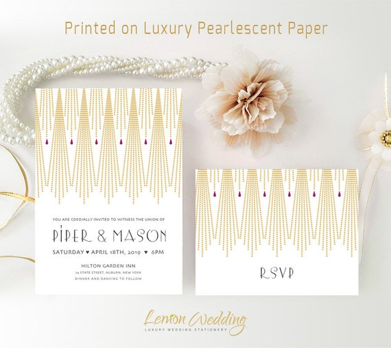 wedding invitation kits printed elegant gatsby theme wedding invites