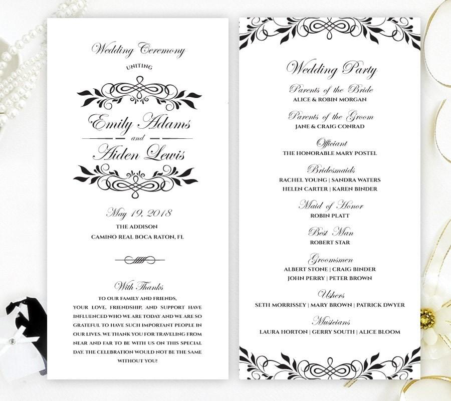 Cheap Wedding Programs: Black And White Wedding Programs Elegant Programs For