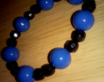 Black And Blue Round/Faceted Beaded Plastic Stretch Bracelet