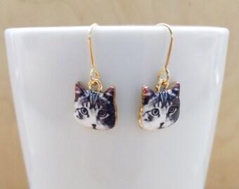 Gray Tabby Cat Earrings