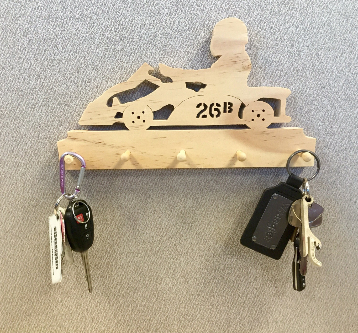 Handcrafted Go Kart Wall Key Chain Holder