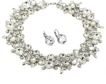 Elegant full white crystal silver necklace earrings set