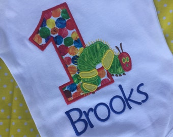 Hungry Caterpillar Birthday personalized age embroidered name birthday shirt boy/girl/baby applique birthday shirt sizes 6 month - 7/8
