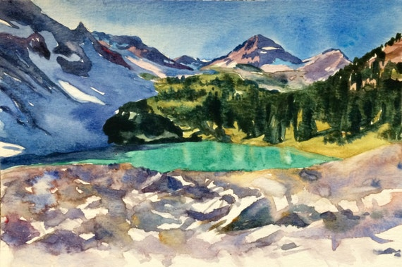 Mountain painting, Wing Lake, North Cascades, Northwest landscape, Pacific Northwest, Washington, Northwest art, landscape watercolor