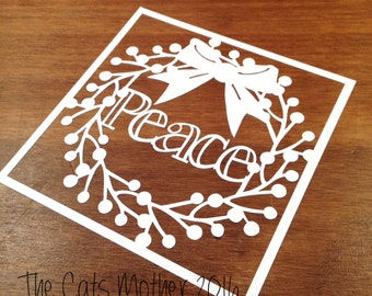 Peace Christmas Wreath Themed Paper Cutting Template - Commercial Use