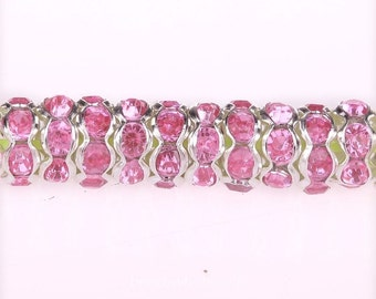 100 SP Pink Rhinestone Rondelle Spacers Beads 8mm