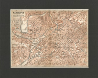 lovely vintage 1898 street map of manchester england.street map by  baedeker  vintage wall decor.