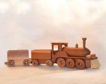 Wooden  Train With Two Carriages.
