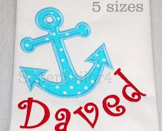 Anchor applique design, Nautical applique design, Anchor embroidery