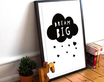 Dream Big, printable quote, nursery wall decor, kids bedroom decor, playroom printable decor, downloadable prints, baby prints, heart print.