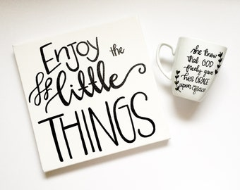 Enjoy the little THINGS canvas quote, canvas hanging sign wall art Wall Decor Inspirational Quotes. Home Decor.
