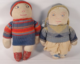 Pair of Vintage Sock Dolls Early 1930s (Set of Two)