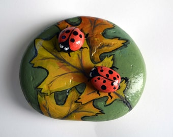 Ladybug on Fall Oak Leaves - Hand Painted Stone