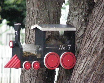 Squirrel  Feeder designed to look like a train - handmade and handpainted