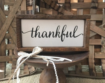 Rustic Thankful Sign Framed in Lath