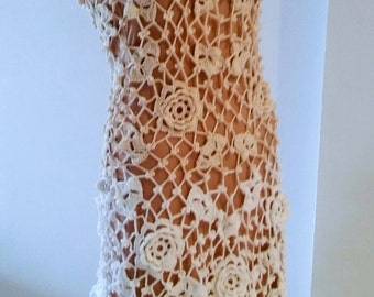 Crochet Dress beige / white