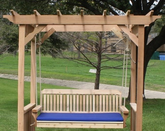 Brand New Extra Large Deluxe Decorative Cedar Garden Arbor & 5 Foot Swing Bed with Cushion - with Hanging Chain or Rope - Free Shipping