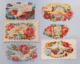 Six Victorian Scrapbook Collectables, Flowers, Doves, Embossed, Die-cut
