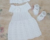 free shipping, Baptism Dresses baby girl, dress, booties, headband, white clothes baby, christening dress cotton clothes baby, crochet white