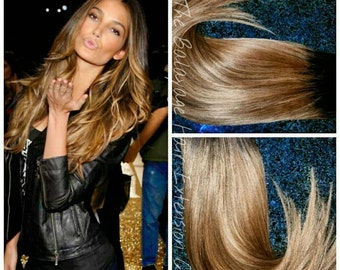 Hair Extensions, Clip in Hair Extensions, Dark Brown, Ombre, Hair Extensions, Balayage Extensions, 120 grams