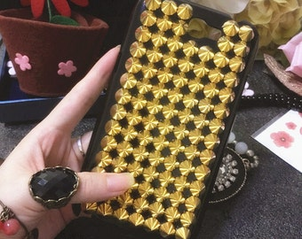 New Bling Gold Punk Rivets Studs Spikes Studded Sparkly Gems Crystals Rhinestones Diamonds Fashion Lovely Hard Cover Case for Mobile Phones