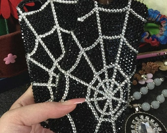 Bling Unique Fashion Spider Web Sparkly Black Crystals Gems Rhinestones Lovely New Cute Charms Jewelled Hard Cover Case for Mobile Phones