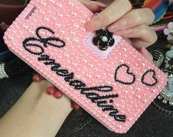 Custom Name Bling Luxury Flip Slot Cards Holder Cute Pink Pearls Lovely Heart Gems Wallet Leather Crystals Rhinestone Case for Mobile Phones