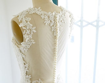 Sheath Sheer Illusion See Through Lace Tulle Wedding Dress Bridal Gown
