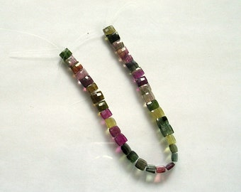 "Multi tourmaline double drilled faceted rectangle beads AA 4x6mm 6.5"" strand"
