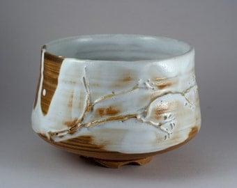 "One of a kind ""Plum-in-blossom"" Chawan, wood fired Tea Bowl by Paul Fryman"
