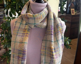 MULTICOLOR cotton Plaid scarf. Woven by hand.