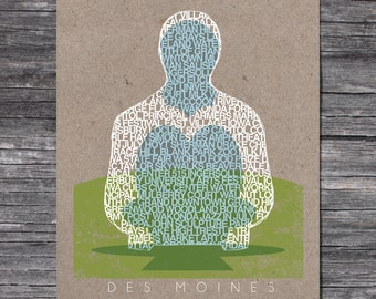 Des Moines Sculpture Screen Printed Poster